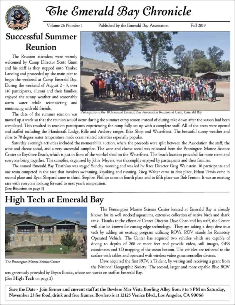Preview of the first page of the Fall 2019 Chronicle Newsletter